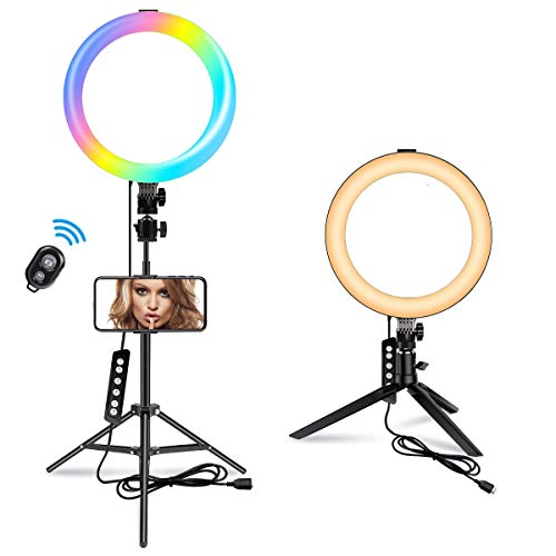 10.2' RGB Selfie Ring Light with 70'' Stand, MACTREM 14 Colors RGB LED Ring Light with 2 Tripod Stands & Phone Holder, 10 Brightness Level, Camera Remote Shutter for Makeup YouTube Video Photography