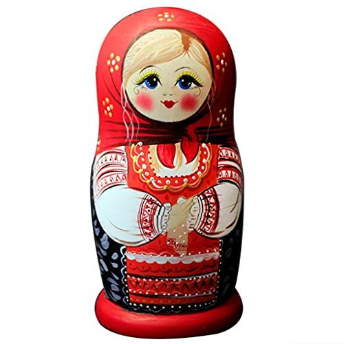 FEANG Muñecas rusas de anidación 7 piezas de muñecas rusas estilo chino Matryoshka apilamiento de madera juego anidado para niños Navidad decoración del hogar juguetes hechos a mano