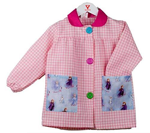KLOTTZ - Babi guardería con bolsillos de tela Frozen de la marca Bata colegio y comedores niños Niñas color: ROSA talla: 4