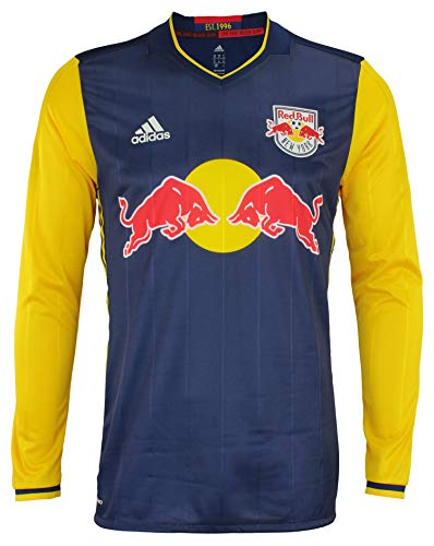 adidas Men's MLS Cllimacool Authentic Long Sleeve Jersey, New York Red Bulls Large