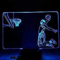 3Dテーブルデスクランプ漫画常夜灯タッチセンサーRbg装飾ランプスポーツキッドチャイルドギフトBketballテーブルランプ寝室Led7色の変更とタッチの3Dイリュージョンランプ