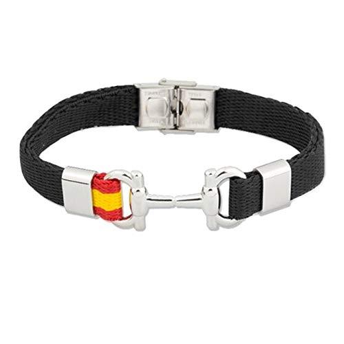 Stainless Steel Bracelet Rodiado Collection Soul Albero 21cm. Spain Flag Black Rope Stirrups