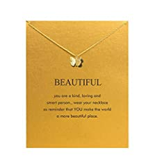 【Necklace Meaning】 Wear your necklace as reminder that YOU make the world a more beautiful place. 【Inspirational Message Card】 Start with a good quality greeting card to show that you value your girffriend, colleagues and more. we hope everyone get t...