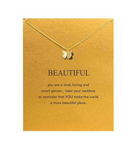 Hundred River Friendship Anchor Compass Necklace Good Luck Elephant Pendant Chain Necklace with Message Card (gold butterfly)