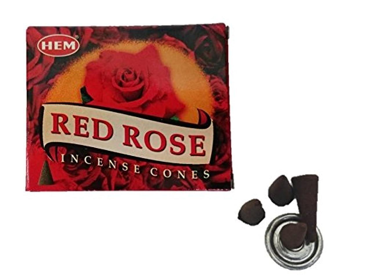 扱いやすい吐き出すボーナスHEM(ヘム)お香 レッドローズ コーン 1箱