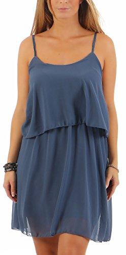 Malito Damen Sommerkleid im Klassik Design | Elegantes Kleid für den Strand | schickes Freizeitkleid | Partykleid 6876 (Jeansblau)