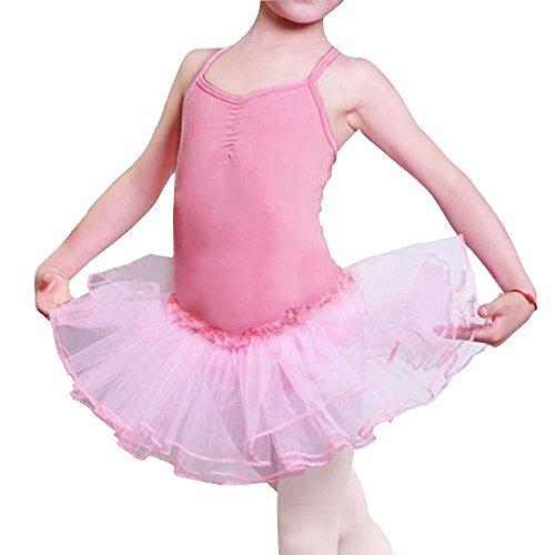 iMixCity Baile de Ballet Jersey Camiseta de Niña Maillot Traje de Ballet Leotardo Princess Girls Vestido de Pantera Falda de Tul Traje de Carnaval (Edad: 3-10 Años) (110 (3-4 Años), Rosado)