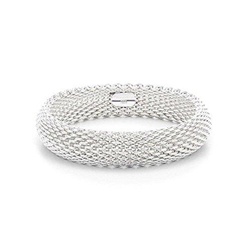 IVYRISE Bracelet 925 Sterling Silver Plated Jewelry Sideway Big Flat Link Chain Mesh Bangle Bracelet for Women