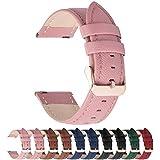 Fullmosa 14mm,16mm,18mm, 20mm, 22mm, 24mm Bracelet de Montre en Cuir véritable, Cross Montre Bracelet Homme/Femme à Dégagement Rapide,22mm Rose