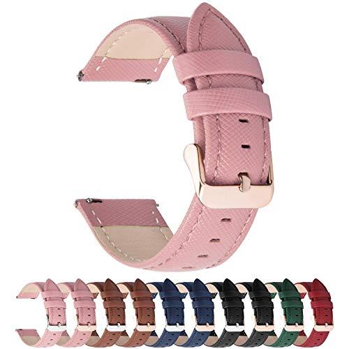 Fullmosa Colores para Correa de Reloj, Cross Piel Correa Huawei Samsung Correa/Banda/Band/Pulsera/Strap de Recambio/Reemplazo 14mm 16mm 18mm 20mm 22mm 24mm,Rosa 20mm