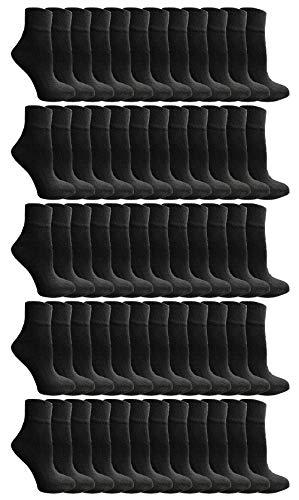 Yacht & Smith 60 Pairs Kids Ankle Wholesale Bulk Pack Athletic Sports Socks, by SOCKS'NBULK (Black)