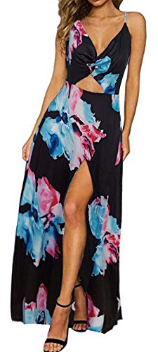 Zyyfly Doramode Women's Summer V Neck Tie Back Floral Print Split Maxi Long Beach Dress
