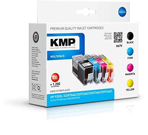 KMP Druckerkartusche für HP Officejet 6000/6500/7000 Multipack Schwarz, Cyan, Magenta, Gelb - Kompatibel - Tintenpatrone für HP 920XL - Office Druckerzubehör
