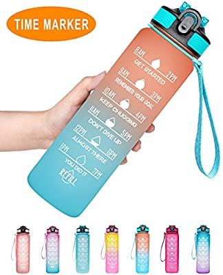 Venture Pal 32oz Motivational Fitness Sports Water Bottle with Time Marker & Straw, Large Wide Mouth Leakproof Durable BPA Free Non-Toxic-Ombre Orange Green