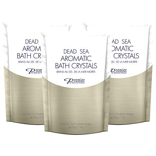 Dead Sea Salt Premier Aromatic Bath Salt Crystals Pack of 3-500 Gr / 17 Fl oz Each Soft Detoxified Clean Skin Treatment, Natural Minerals Certified, May Help Relieve Eczema, Psoriasis, Acne