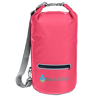 DrySak Waterproof Dry Bag with Exterior Zip Pocket, Shoulder strap and Reflective Trim, For Watersports & Outdoor Activities, 10L Pink