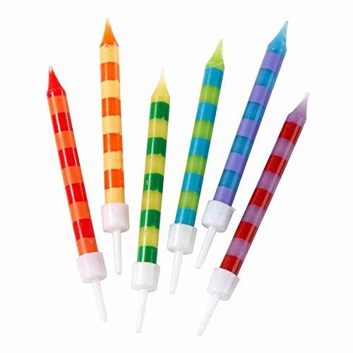 Talking Tables HB-CANDLE Lot de 24 bougies d'anniversaire à rayures multicolores avec supports | Rainbow Cake Topper, décorations pour fête d'enfants, gâteaux de célébration