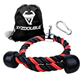 XYZDOUBLE Cuerda Tríceps Accesorio para Cable de tracción hacia Abajo con tríceps y bíceps Multi Gym Nylon Manijas Antideslizantes - Dorsal, Biceps, Triceps, Gimnasio o Hogar-Azul 70cm