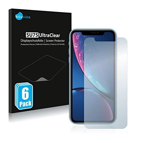savvies Protector Pantalla Compatible con iPhone XR (6 Unidades) Pelicula Ultra Transparente