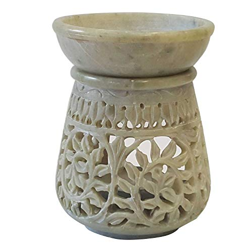 Casa Moro Orientalische Duftlampe Shakir-30 aus Soapstone geschnitzt 10x10x11 cm (B/T/H) ätherisches Öl Diffusor, Teelicht-Halter für Aromatherapie, handbemalte Aromalampe   SL3000