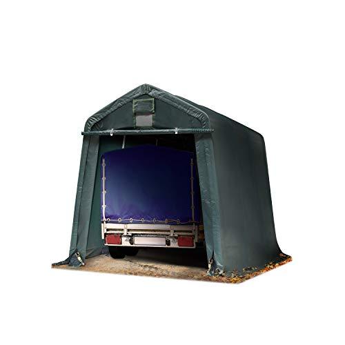 TOOLPORT Tendone Garage Premium 2,4 x 3,6 m Verde Scuro con Telo da ca. 500g/m² PVC, Costruzione Stabile in Acciaio, Garage per Moto