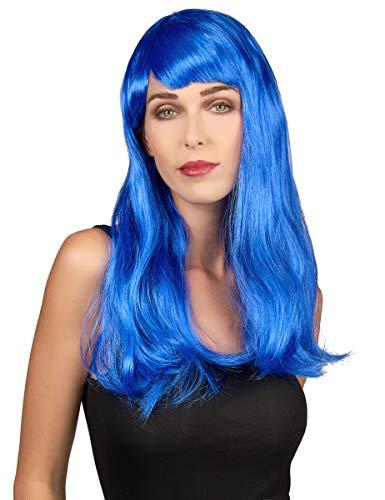 Generique - Perruque Longs Cheveux Bleus Femme