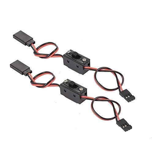 conpoir 2PCS Receptor Cable Adicional de Canal extendido con Interruptor de Encendido para Parachoques con cabestrante de luz 1/10 1/8 Traxxas Tamiya Axial scx10 RC Coche Drone RC Avión RC