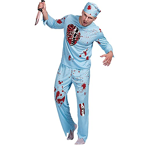 Skittoy Macho Adulto de Halloween Walking Dead Doctor Disfraz Top + Pants + Sombrero Masquerade Cosplay Party Performance Clothes Props - L Talla