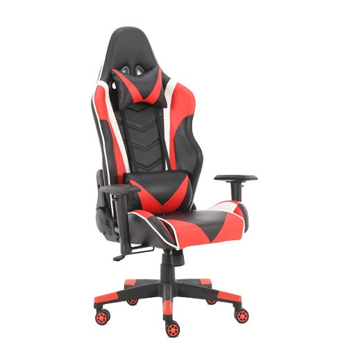 BAOU Gaming Chair Racing Office Computer Game Chair Ergonomic Backrest and Seat Height Adjustment Recliner Swivel Rocker with Headrest and Lumbar Pillow E-Sports Chair(Red)