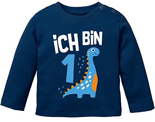 MoonWorks® Baby Langarm-Shirt 1. Geburtstag Spruch Ich Bin 1 Dinosaurier Dino Geburtstagsshirt Bio-Baumwolle Junge Navy 80/86 (10-15 Monate)