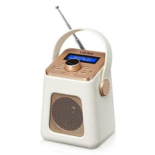 UEME Mini DAB+ DAB Digitalradio und UKW Radio mit Bluetooth Lautsprecher, Radiowecker, und Leder Verkleiden (Creme)