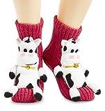CityComfort Calcetines Antideslizantes Mujer, Zapatillas de Casa Punto Invierno Mullidos de Animales Unicornio Pingüino Gato, Calcetín Gordo Mujer Suave, Regalos Para Mujeres Niñas (Rojo)