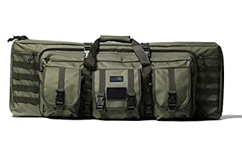 Double Rifle Bag   2 Rifles + 2 Pistols Tuckable Backpack Straps   Combat Veteran Owned Company   Waterproof Padded Lockable Carbine or Long Gun Case  Olive Drab Green 42  x 12  Double Rifle Case