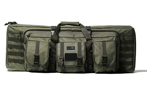 Double Rifle Bag   2 Rifles + 2 Pistols Tuckable Backpack Straps   Combat Veteran Owned Company   Waterproof Padded Lockable Carbine or Long Gun Case (Olive Drab Green, 42' x 12' Double Rifle Case)