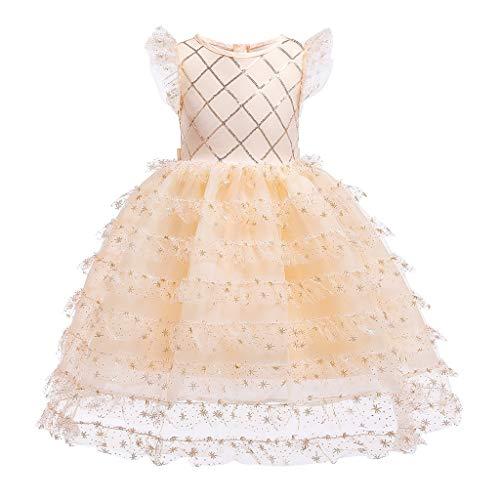 LEXUPE Blumenbaby-Prinzessin Bridesmaid Pageant Gown Birthday Party Wedding Dress(Orange,100)