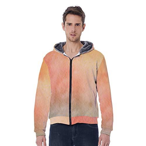 GWQSM Cantidad con capucha con cremallera completa para hombres Abrigo de invierno con fleece forrado de estilo angustiado con bolsillo de manga de posicionamiento Unisex Amarillo desgaste insubordina