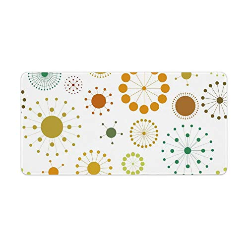 Extended Gaming Mouse Pad with Stitched Edges Waterproof Large Keyboard Mat Non-Slip Rubber Base Colorful Abstract Circles And Stars Desk Pad for Gamer Office Home 12x24 Inch