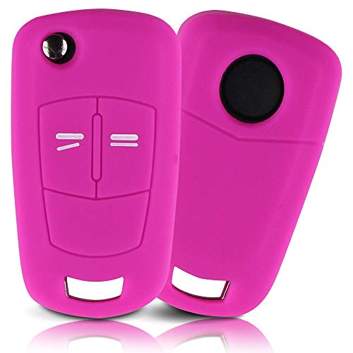 ASARAH Premium Silikon Schlüsselhülle geeignet für Opel, Schutzhülle Autoschlüssel Cover - Rosa OP 2BKB