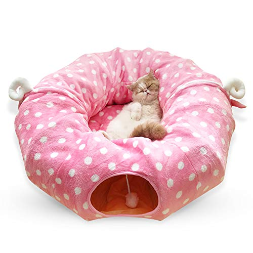 PETCUTE Katzentunnel Katzenbett katzentunnel rascheltunnel Faltbarer katzenspielzeug Katzen Tunnel für große Katzen