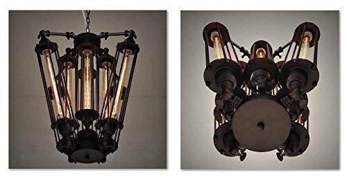 DEJ hanglamp industriële Steampunk staal plafond licht industriële kroonluchters decoratieve armatuur met 8 lichten, zwart