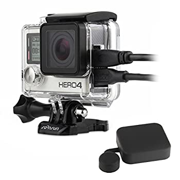 SOONSUN Side Open Protective Skeleton Housing Case with LCD Touch Backdoor for GoPro Hero 4 Hero 3+ Hero 3 Camera - Transparent Clear
