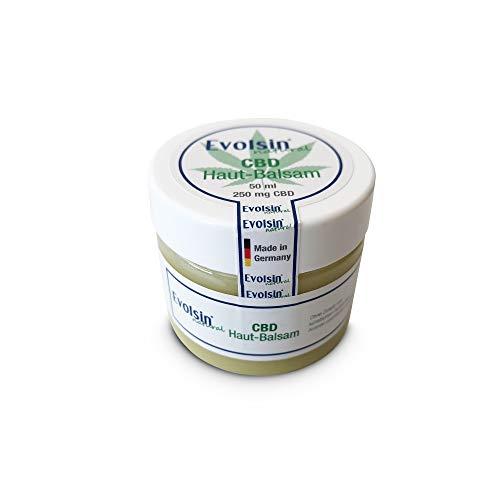 NEU: Evolsin® natural CBD Creme I 100% Bio I 250mg CBD I Hanf Creme gegen Akne, Neurodermitis, Psoriasis, Schuppenflechte, Narben I mit Kokosöl, Bienenwachs, Arganöl, Shea Butter (50ml)