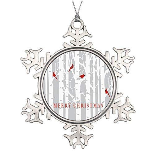 Yilooom Birch Forest Cardinals Merry Christmas Snowflake Ornaments Christmas Tree Decorations Metal Keepsake Gift Idea