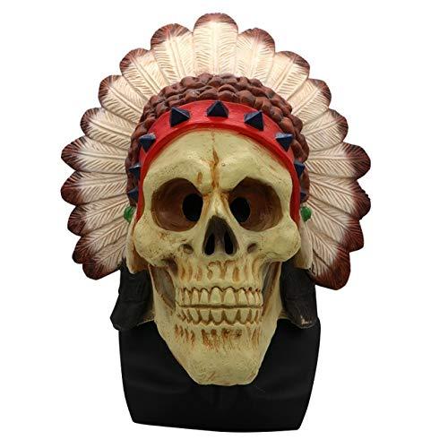 WSJDE Horrores de Halloween Máscaras de Payaso Hombres y Mujeres Caras espeluznantes Zombis caseros Zombis para Adultos Suministros para la Fiesta de la MuerteBeige