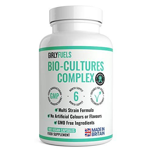 Vegan Bio Cultures Complex - 180 Capsules – 1 Billion CFU with 5 Bacteria Strains Per Serving - Max Strength & Potency Digestive Enzyme Capsules - Includes Lactobacillus Acidophilus & Bifidobacterium