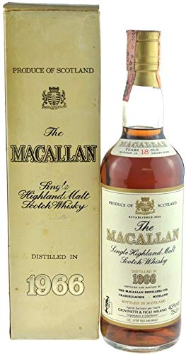 Rareza: Macallan Whisky 0.7l año 1966-18 años con papel de regal - Single Highland Malt Scotch Whisky