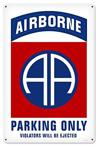 Maizeco Retro 82nd Airborne Parking Metal Signs Military 8' x 12' Inch Tin Sign Plaques Poster for Home Man Cave Garage Pub Bar Wall Decor