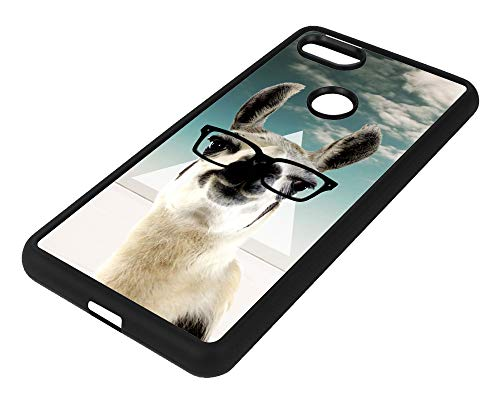 Teleskins Rubber TPU Case for Google Pixel 3 XL - Hipster Llama Geek Glass - Ultra Durable Slim Fit, Protective Plastic with Soft Rubber TPU Snap on Back Case/Cover