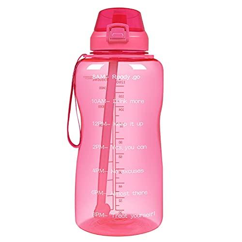 Botella de agua deportiva de 2000 ml, con purpurina, sin BPA, portátil con tapa antigoteo, etiquetado reutilizable para el tiempo y la capacidad, apta para el fitness de los jóvenes Adul