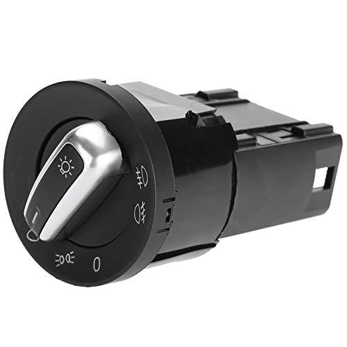 Vobor schakelaar voor auto-koplampen, aluminium, zwart, met schakelaar voor koplampen, voor VW Passat Polo Sharan 3BD941531A